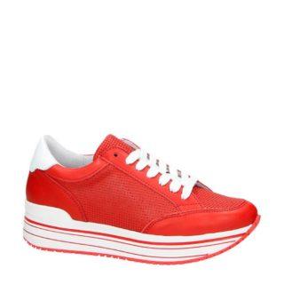 Nelson leren platform sneakers rood (rood)