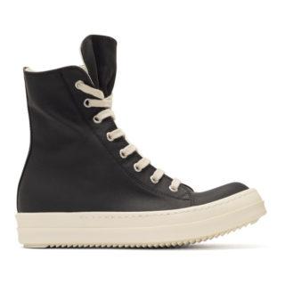 Rick Owens Drkshdw Black Waxed Vegan High-Top Sneakers