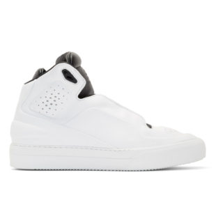 Maison Margiela White and Black High Frequency High-Top Sneakers