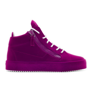 Giuseppe Zanotti Purple Flocked May London High-Top Sneakers