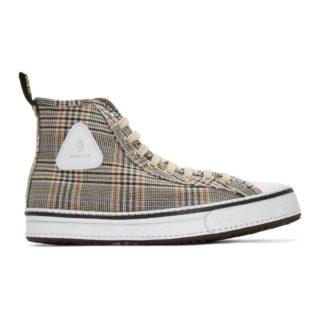 R13 Orange Plaid Twill Sneakers