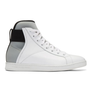 Diesel Black Gold White Leather and Neoprene High-Top Sneakers