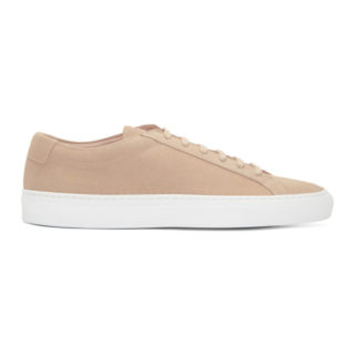 Common Projects Pink and White Suede Original Achilles Low Sneakers