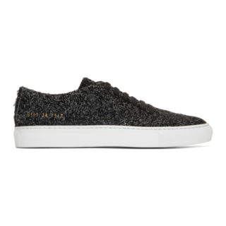 Common Projects Black Suede Court Low Sneakers