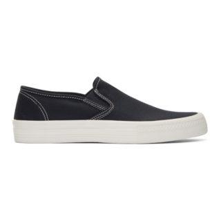 Junya Watanabe Navy Twill Slip-On Sneakers