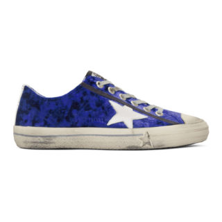 Golden Goose Blue and White Velvet Superstar Sneakers