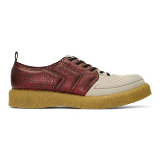 Comme des Garcons Homme Plus Red and Biege Velour Goatskin Sneakers