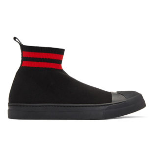 Neil Barrett Black and Red Skater Boot High-Top Sneakers