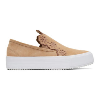 See by Chloe Pink Suede Flower Cut-Out Slip-On Sneakers