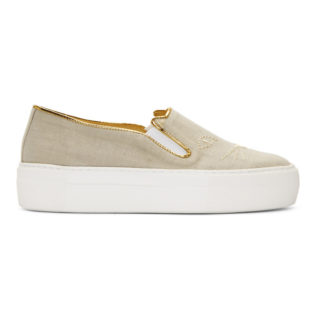 Charlotte Olympia Beige Linen Cool Cats Sneakers