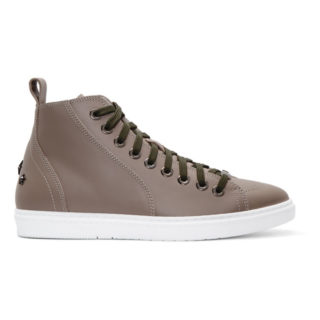 Jimmy Choo Taupe Leather Colt High-Top Sneakers