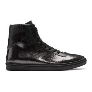 Jimmy Choo Black Crackled Metallic Bruno High-Top Sneakers