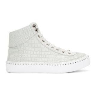 Jimmy Choo White Croc Crystal Argyle High-Top Sneakers