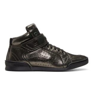 Jimmy Choo Gunmetal Metallic Lewis High-Top Sneakers