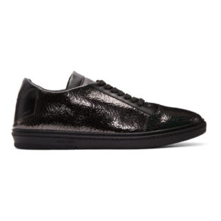 Jimmy Choo Black Crackled Metallic Benn Sneakers