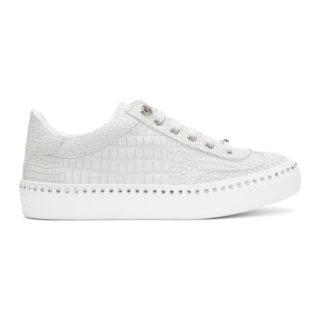 Jimmy Choo White Croc Crystal Ace Sneakers