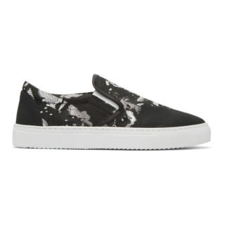 Marcelo Burlon County of Milan Black Camou Wing Slip-On Sneakers