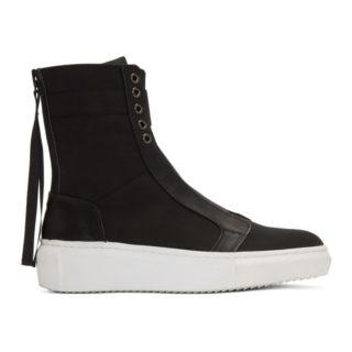 D by D Black Back Zip High-Top Sneakers