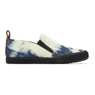 Loewe Blue and White Bleached Denim Slip-On Sneakers