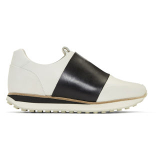 Rag and Bone White and Black Dylan Elastic Runner Sneakers