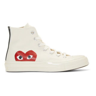 Comme des Garcons Play Beige Converse Edition Chuck Taylor All-Star 70 High-Top Sneakers