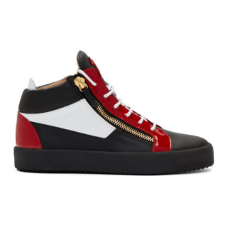 Giuseppe Zanotti Black and Red May London High-Top Sneakers