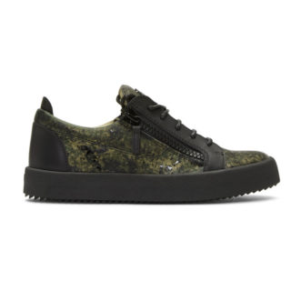 Giuseppe Zanotti Black and Green Camouflage May London Sneakers
