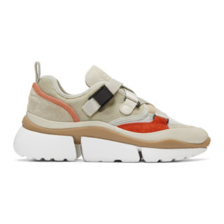Chloe Beige and Grey Sonnie Sneakers