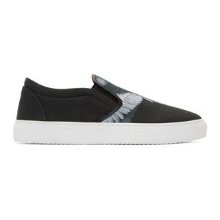 Marcelo Burlon County of Milan Black and Grey Wing Slip-On Sneakers