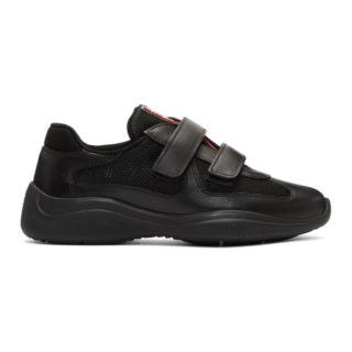 Prada Black Leather and Mesh Velcro Sneakers