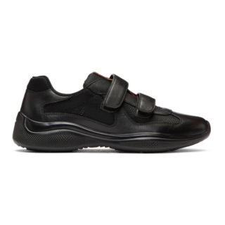 Prada Black Mesh and Leather Velcro Sneakers