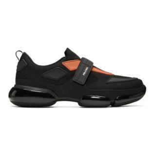 Prada Black and Orange Sport Sneakers