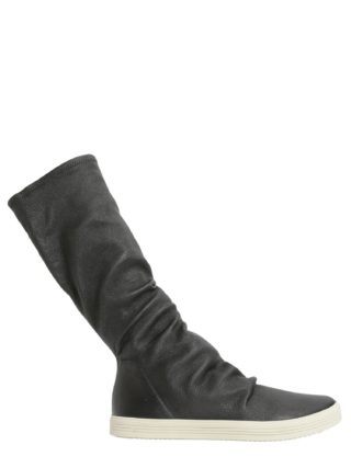 Rick Owens Stretch Leather High Top Sneakers (zwart)