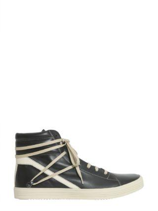 Rick Owens Leather Sneakers (zwart)