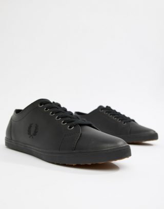 Fred Perry Kingston Leather Plimsolls in Black