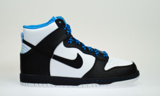 Dunk High (GS) (WHITE/BLACK-BLUE GLOW)