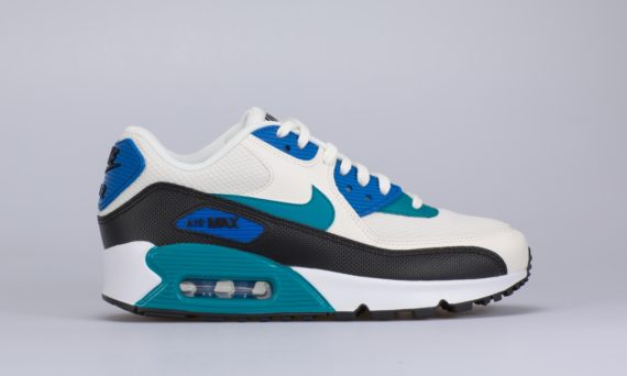 Wmns Air Max 90 (White / Blue) (SAIL/RADIANT EMERALD-BLACK)