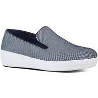 "FitFlop Sneaker superskateâ""¢ houndstooth print midnight navy blauw"
