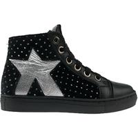 MAÁ MaÁ halfhoog meisjes sneaker met zilveren ster- zwart