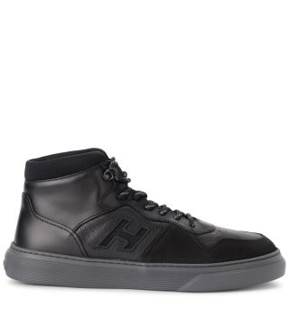 Hogan Hogan H365 Basket Black Leather Sneaker (zwart)