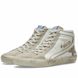 Golden Goose Deluxe Brand Slide Leather & Suede Sneaker (White)