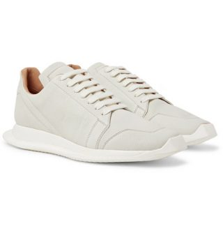 Rick Owens Oblique Full-grain Leather Sneakers – White