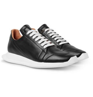 Rick Owens Oblique Leather Sneakers – Black