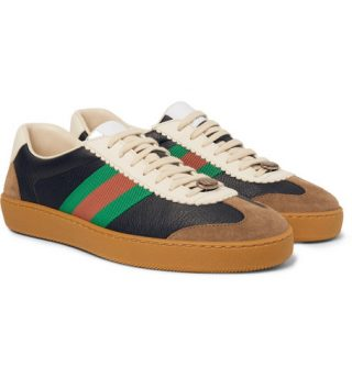 Gucci Jbg Webbing-trimmed Leather And Suede Sneakers – Navy