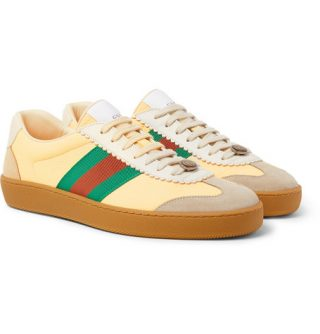 Gucci Webbing-trimmed Leather And Suede Sneakers – Yellow