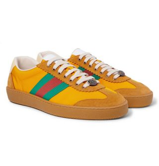 Gucci Jbg Webbing, Suede And Leather-trimmed Nylon Sneakers – Saffron