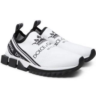 Dolce & Gabbana Logo-print Stretch-knit Sneakers – White