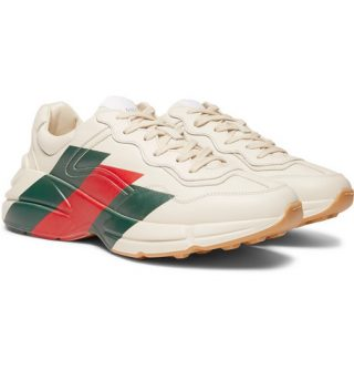 Gucci Rhyton Striped Leather Sneakers – Off-white