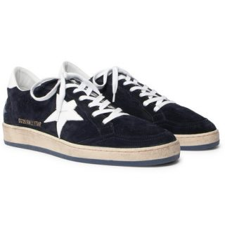 Golden Goose Deluxe Brand Ball Star Distressed Suede And Leather Sneakers – Navy