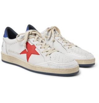 Golden Goose Deluxe Brand Ballstar Distressed Leather Sneakers – White